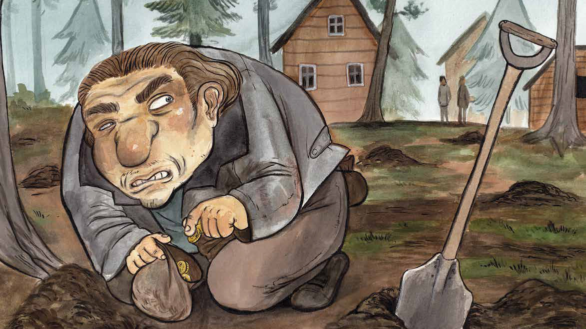 A drawn picture, where a man is dropping coins to a small bag. Beside him there is a shovel and small holes in the ground.