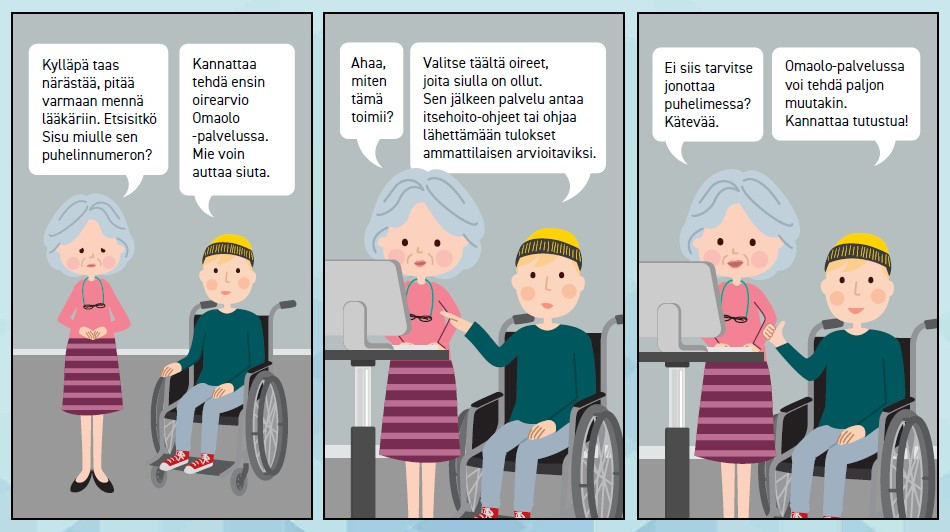 Sarjakuva, jossa vanhempi nainen ja pyörätuolissa istuva poika keskustelevat terveyspalveluista. Nainen valittelee närästystä ja aikoo mennä lääkäriin. Poika neuvoo häntä tekemään ensin oirearvion Omaolo-palvelussa.