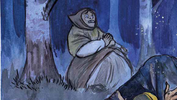 Piirroskuva, jossa on pelästyneen näköinen nainen yön pimeydessä.