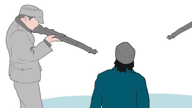 Piirroskuva, jossa kaksi kiväärinpiippua osoittaa polvillaan olevaa miestä.