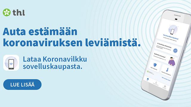 """Banneri, jossa on teksti: """"Auta estämään koronaviruksen leviämistä""""."""