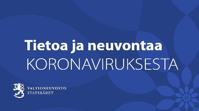 """Banneri, jossa lukee """"Tietoa ja neuvontaa koronaviruksesta""""."""